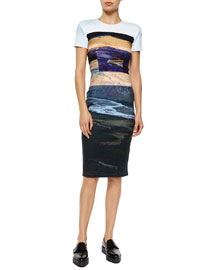 Short-Sleeve Landscape-Print Body-Conscious Dress