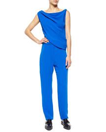 Drape-Front Crepe Jumpsuit, Klein Blue
