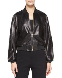 Perforated Lambskin Leather Cropped Jacket
