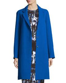 Boyfriend Long-Sleeve Coat, Cobalt