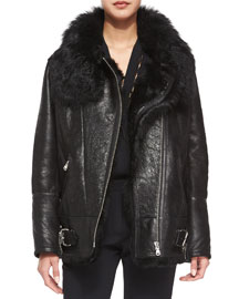 Barrett Long-Sleeve Fur-Trim Leather Jacket, Black