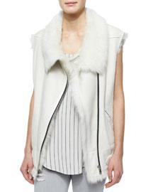 Courtney Fur-Trim Leather Moto Vest
