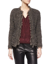 Coffey Fringe-Trim Shaggy Jacket