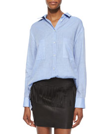 Andrea Long-Sleeve Button-Front Cotton Top