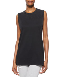Leila Sleeveless Slash-Back Top
