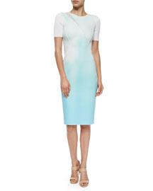 Axel Short-Sleeve Neoprene Sheath Dress