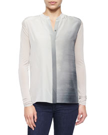 Suzanna Long-Sleeve Ombre Blouse