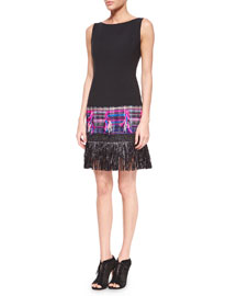 Couture Tweed Fringe Dress, Multi Colors