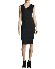 Alexia Reversible Asymmetric-Panel Sheath Dress, Black/White