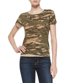 Janetta Camo Jersey Tee, Jungle Green