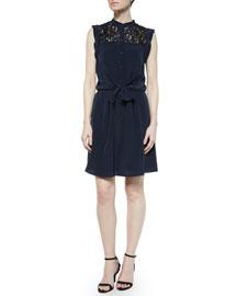 Sleeveless Lace-Trim Silk Shirtdress, Navy