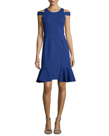 Silk Cold-Shoulder Sheath Dress, Blue Hawaii