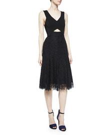Sleeveless Lace Cutout Dress, Black