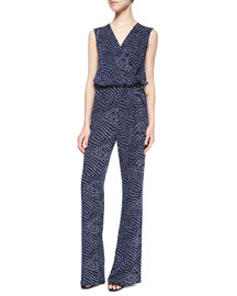Eva Batik-Print Sleeveless Jumpsuit