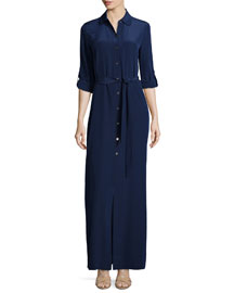 Amina Silk Tie-Waist Maxi Shirtdress, Navy