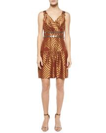 Eugenia Brocade Drop-Waist Dress, Cocoa/Gold