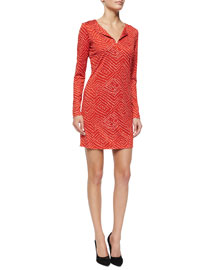 Reina Batik-Print Split-Neck Dress, Red