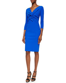 Ilenia Twist-Front Sheath Dress, Cobalt
