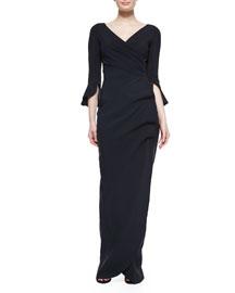 Zalfa V-Neck Ruffle-Sleeve Column Gown, Black
