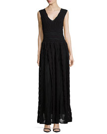 Sheer Greek Key Maxi Dress