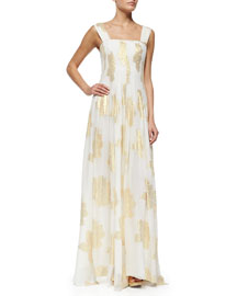 Lillie Metallic Leaf-Print Maxi Dress, Ivory/Gold