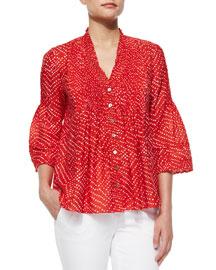 Layla Batik-Print Top, Red
