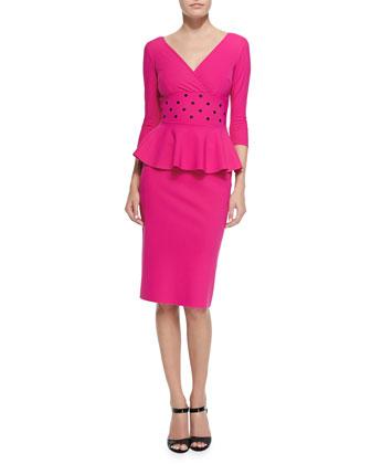 Matilda 3/4-Sleeve Cocktail Dress W/ Peplum