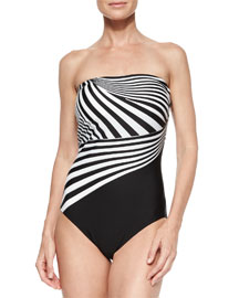 Illusion Stripe One-Piece Swimsuit
