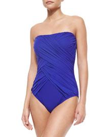 Lattice-Gathered Bandeau Swimsuit