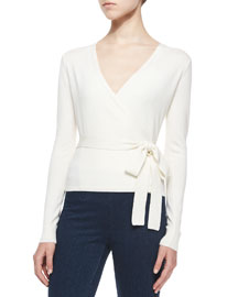 Ballerina Wrap-Front Sweater, Ivory