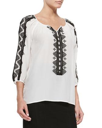 Rhumba 3/4-Sleeve Embroidered Blouse