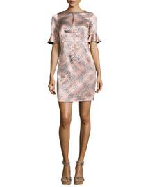 Marseille Flutter-Sleeve Silk Sheath Dress