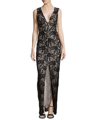 Caragen Lace Gown W/ Center Slit
