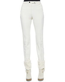 Front-Seam Stretch Pants, White