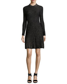 Long-Sleeve Vertical Stripe Dress, Black
