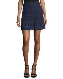 Rib-Stitch Flared Skirt