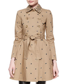 Grommet Full Skirt Trench Coat