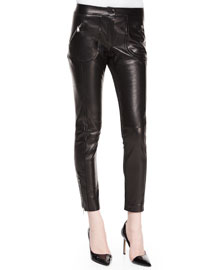 Leather-Front Woven-Back Skinny Pants