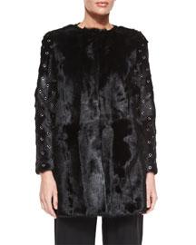 Fur Grommet-Sleeve Coat