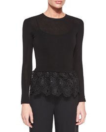 Long-Sleeve Top w/Lace Peplum, Black