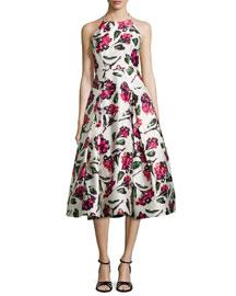 Floral Halter Tea-Length Dress