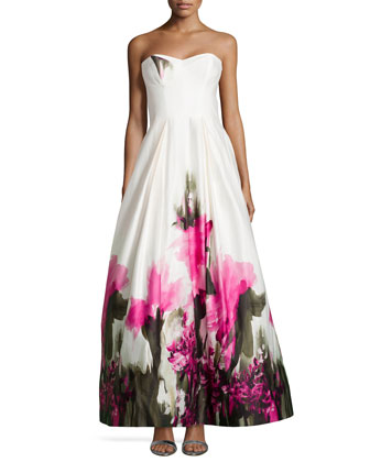 Ava Strapless Floral-Print Bustier Gown