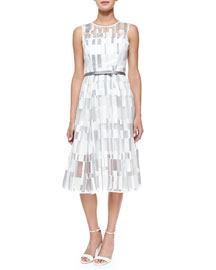 Sleeveless Cubist Pleated Dress