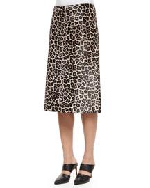 Midi L. Sahara Printed Leather Skirt, Ivory/Gray