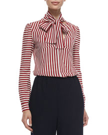Tie-Neck Striped Blouse, Red