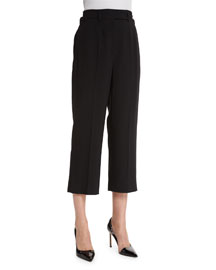 High-Waist Wool Cropped Pants