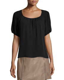 Lea Top W/Embroidered Shoulders