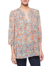 Lacee Floral-Print Silk Blouse