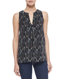 Aruna Arrow-Print Silk Top