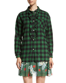 Plaid Oversized Ruffed-Front Blouse